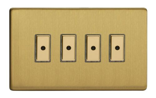 Varilight JDBE104S Screwless Brushed Brass 4 Gang V-Pro Remote/Touch Master LED Dimmer 0-100W